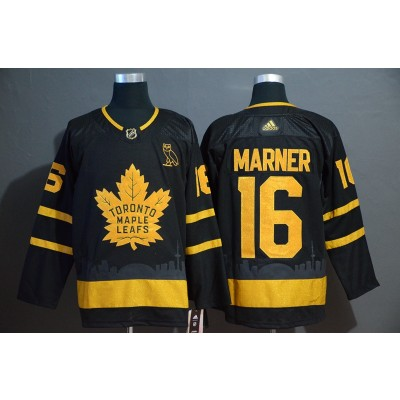 NHL Leafs 16 Mitchell Marner Black With Special Glittery Logo Adidas Men Jersey