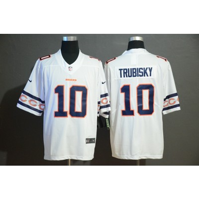 Nike Bears 10 Mitchell Trubisky White Team Logos Fashion Vapor Limited Men Jersey