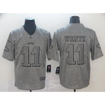 Nike Eagles 11 Carson Wentz  Grey Gridiron Limited Men Jersey