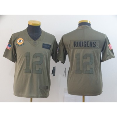 Nike Packers 12 Aaron Rodgers 2019 Olive Salute To Service Limited Youth Jersey