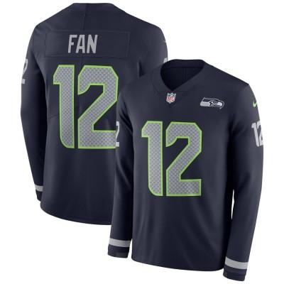 Nike Seattle Seahawks 12 Fan College Navy Long Sleeve Men Jersey