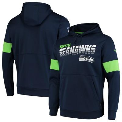 Nike Seattle Seahawks Navy Sideline Team Logo Performance Pullover Hoodie