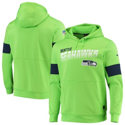 Nike Seattle Seahawks Neon Green 2019 100 Season Sideline Team Logo Performance Pullover Hoodie