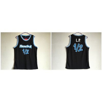 Throwback L.P. 12 Black Stitched Basketball Men Jersey