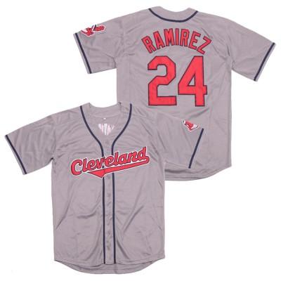 MLB Indians 24 Manny Ramirez Gray Turn Back The Clock Men Jersey