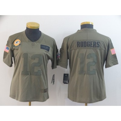 Nike Packers 12 Aaron Rodgers 2019 Olive Salute To Service Limited Women Jersey(Run Small)