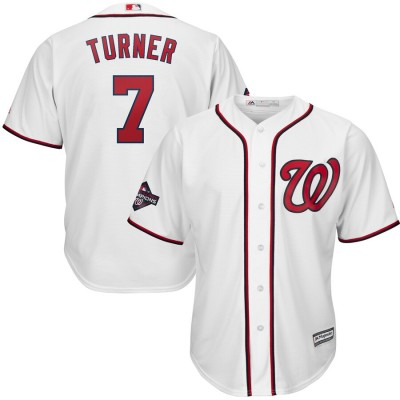 MLB Nationals 7 Trea Turner White 2019 World Series Champions Cool Base Men Jersey
