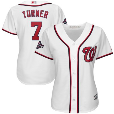 MLB Nationals 7 Trea Turner White 2019 World Series Champions Cool Base Women Jersey