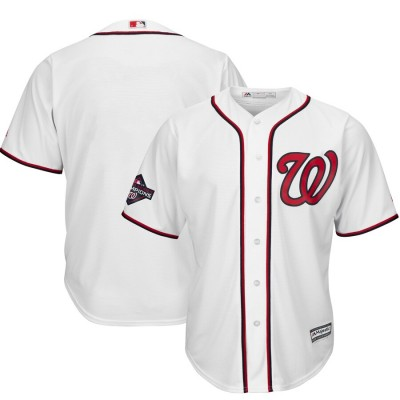 MLB Nationals Blank White 2019 World Series Champions Cool Base Men Jersey