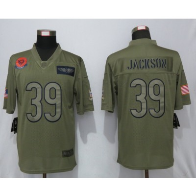 Nike Bears 39 Eddie Jackson 2019 Olive Salute To Service Limited Men Jersey
