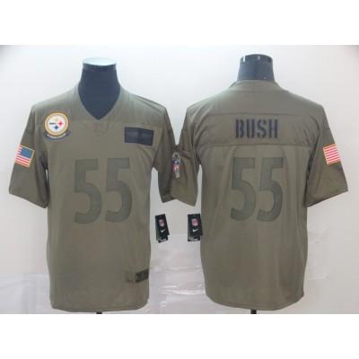 Nike Steelers 55 Devin Bush 2019 Olive Salute To Service Limited Men Jersey