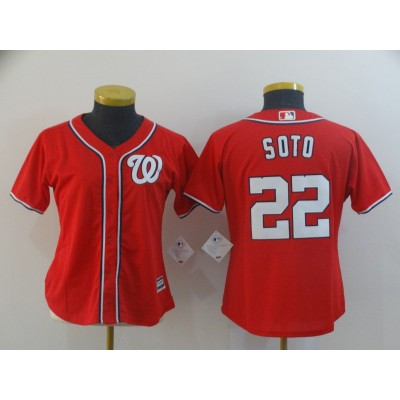MLB Nationals 22 Juan Soto Red Cool Base Women Jersey