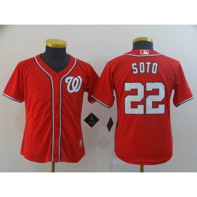 MLB Nationals 22 Juan Soto Red Cool Base Youth Jersey