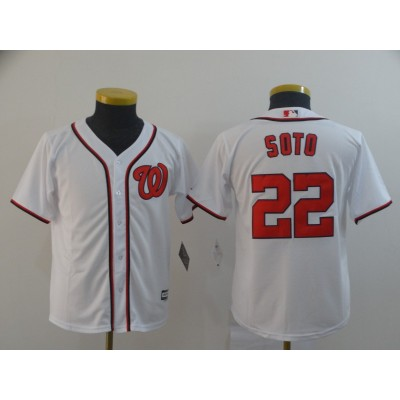 MLB Nationals 22 Juan Soto White Cool Base Youth Jersey