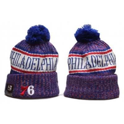 NBA 76ers Team Logo Royal Wordmark Cuffed Pom Knit Hat YP