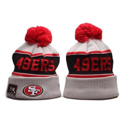 NFL 49ers Team Logo Gray Red Wordmark Cuffed Pom Knit Hat YP
