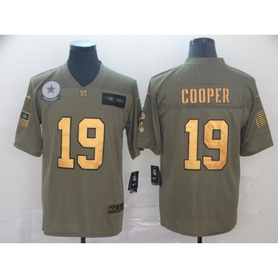 Nike Cowboys 19 Amari Cooper 2019 Olive Gold Salute To Service Limited Men Jersey