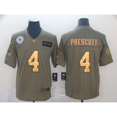 Nike Cowboys 4 Dak Prescott 2019 Olive Gold Salute To Service Limited Men Jersey