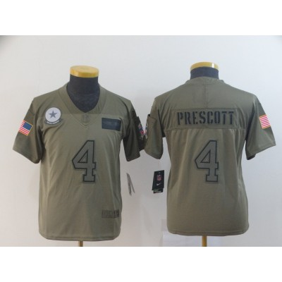 Nike Cowboys 4 Dak Prescott 2019 Olive Salute To Service Limited Youth Jersey