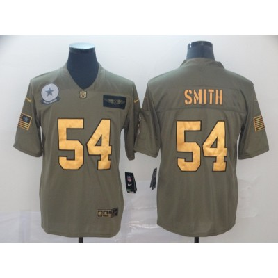 Nike Cowboys 54 Jaylon Smith 2019 Olive Gold Salute To Service Limited Men Jersey