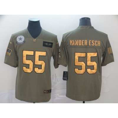 Nike Cowboys 55 Leighton Vander Esch 2019 Olive Gold Salute To Service Limited Men Jersey