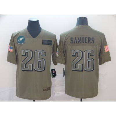 Nike Eagles 26 Miles Sanders 2019 Olive Salute To Service Limited Men Jersey