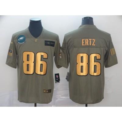Nike Eagles 86 Zach Ertz 2019 Gold Salute To Service Limited Men Jersey