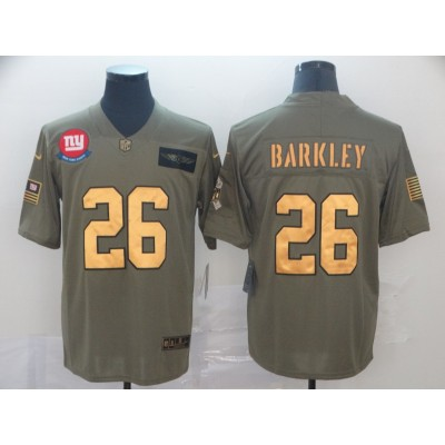 Nike Giants 26 Saquon Barkley 2019 Olive Gold Salute To Service Limited Men Jersey