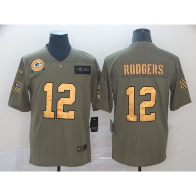Nike Packers 12 Aaron Rodgers 2019 Olive Gold Salute To Service Limited Men Jersey