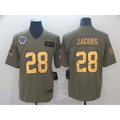 Nike Raiders 28 Josh Jacobs 2019 Olive Gold Salute To Service Limited Men Jersey