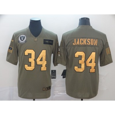 Nike Raiders 34 Bo Jackson 2019 Olive Gold Salute To Service Limited Men Jersey