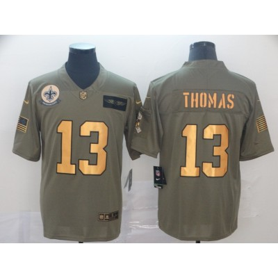 Nike Saints 13 Michael Thomas 2019 Olive Gold Salute To Service Limited Men Jersey