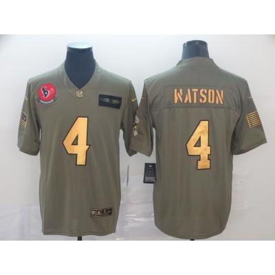 Nike Texans 4 Deshaun Watson 2019 Olive Gold Salute To Service Limited Men Jersey
