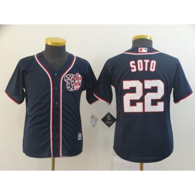 MLB Nationals 22 Juan Soto Navy Cool Base Youth Jersey