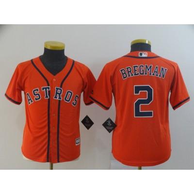 MLB Astros 2 Alex Bregman Orange Cool Base Youth Jersey