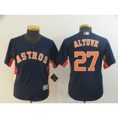 MLB Astros 27 Jose Altuve Navy  Cool Base Youth Jersey