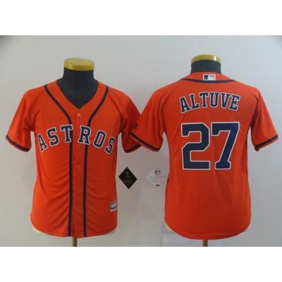 MLB Astros 27 Jose Altuve Orange Cool Base Youth Jersey