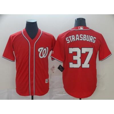 MLB Nationals 37 Stephen Strasburg Red Cool Base Men Jersey