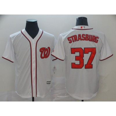 MLB Nationals 37 Stephen Strasburg White Cool Base Men Jersey