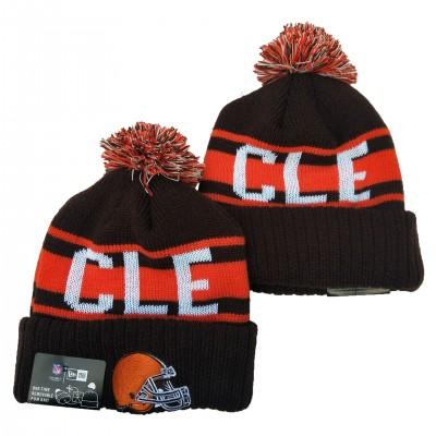 NFL Browns Team Logo Brown Orange Pom Knit Hat YD