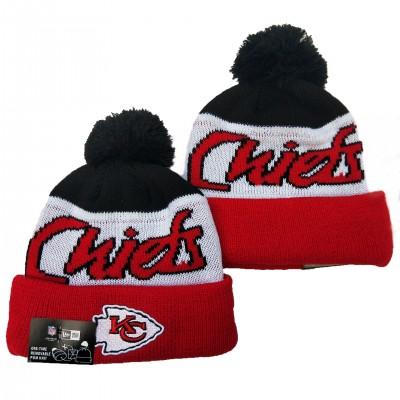 NFL Chiefs Team Logo Black White Red Pom Knit Hat YD