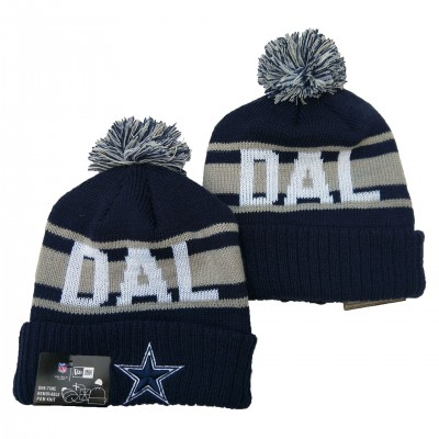 NFL Cowboys Team Logo Navy Pom Knit Hat YD