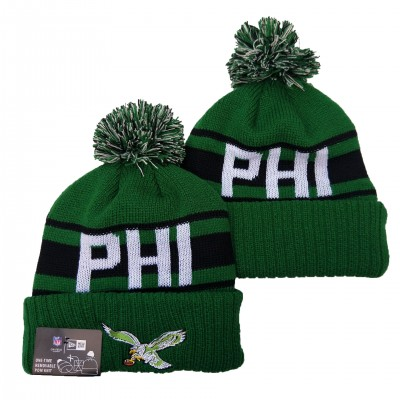 NFL Eagles Team Logo Green Pom Knit Hat YD