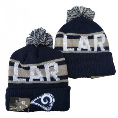 NFL Rams Team Logo Navy Pom Knit Hat YD