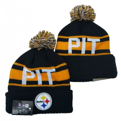 NFL Steelers Team Logo Black Yellow Pom Knit Hat YD