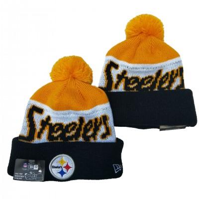 NFL Steelers Team Logo Yellow White Navy Pom Knit Hat YD