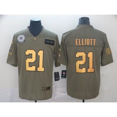Nike Cowboys 21 Ezekiel Elliott Gold Salute To Service Limited Men Jersey