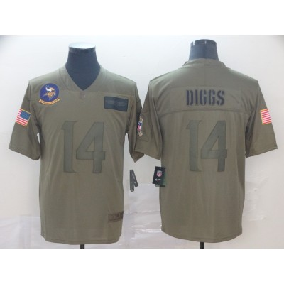Nike Vikings 14 Stefon Diggs 2019 Olive Salute To Service Limited Men Jersey