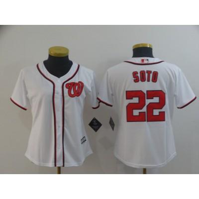 MLB Nationals 22 Juan Soto White Cool Base Women Jersey