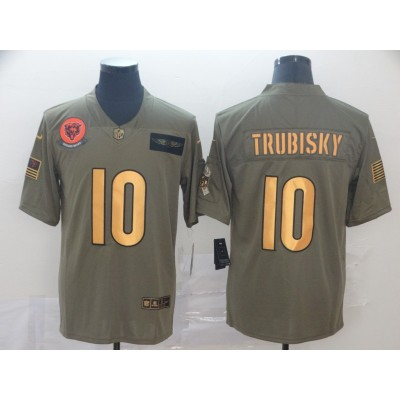 Nike Bears 10 Mitchell Trubisky 2019 Gold Olive Salute To Service Limited Men Jersey